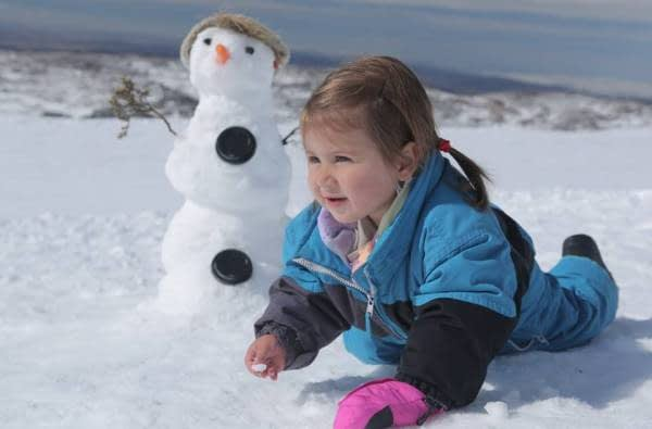 Snowman time at Perisher. Image source: facebook.com/PerisherResort